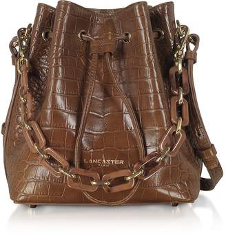 Croco Lancaster Paris Exotic Embossed Leather Bucket Bag