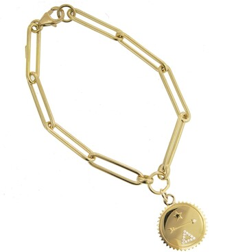 Foundrae Baby Dream Medallion on Extended Clip Chain Yellow Gold Bracelet