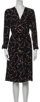 HVN Silk Midi Length Dress Black