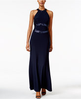 Betsy & Adam Open-Back Sequined Halter Gown