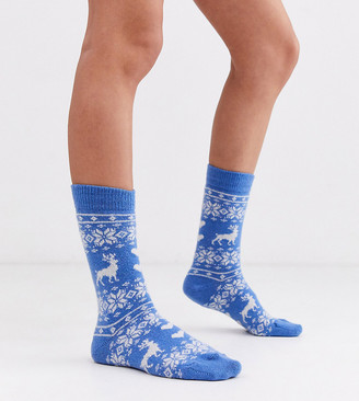 Jonathan Aston Exclusive cosy fairisle stag sock in blue