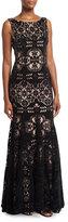 Jovani Geo Lace Velvet Bateau-Neck Gown, Black