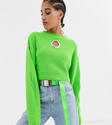 Collusion COLLUSION cropped sweater in waffle knit with cut out detail in green