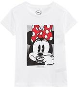 Little Eleven Paris White Minnie Mouse Moustache Tee