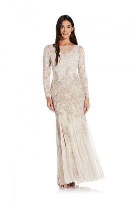Adrianna Papell Multi Beaded Gown In Biscotti