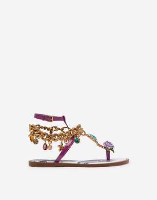 Dolce & Gabbana Patent Leather Flip Flops With Embroidery
