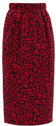 No.21 No. 21 - High-rise Leopard-jacquard Twill Skirt - Red Multi