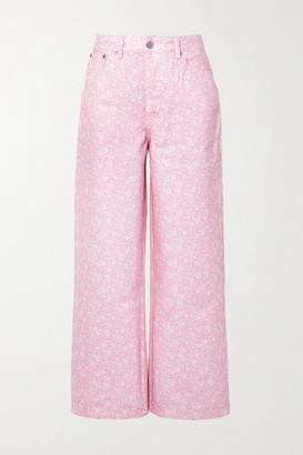 Ganni Net Sustain Floral-print High-rise Wide-leg Jeans