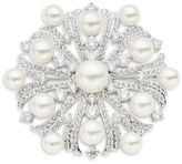 Nadri Faux Pearl and Stone-Accented Floral Brooch