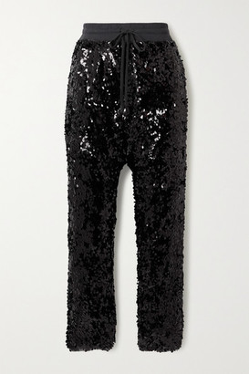 R 13 Sequined Cotton-jersey Track Pants - Black