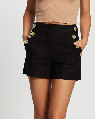 Atmos & Here Atmos&Here - Women's Black High-Waisted - Jorja Button Front Shorts - Size 8 at The Iconic