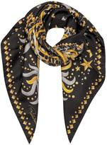 Roberto Cavalli Signature Logo and Symbols Print Silk Square Scarf
