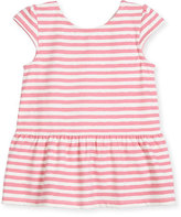 Kate Spade Cap-Sleeve Stretch Jersey Striped Peplum Top, Pink, Size 2-6