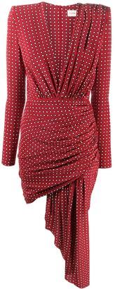 Alexandre Vauthier Square Print Silk Wrap Dress