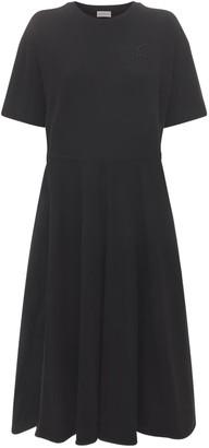 Moncler Pleated Cotton Midi Dress
