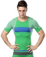 Acme Men Athletic Short-Sleeved Tops Color Block Compression Crewneck Base Layer T Shirts