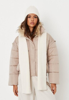 Missguided Cream Rib Fluffy Scarf And Beanie Hat Set
