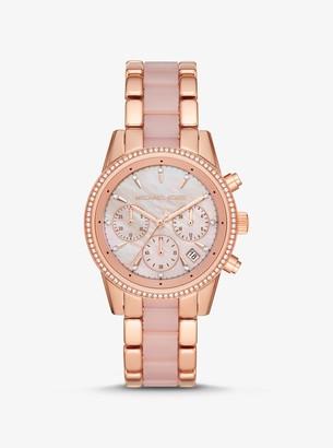 Michael Kors Ritz Rose Gold-Tone and Acetate Watch