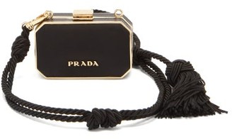 Prada Minaudiere Rope And Leather Clutch - Black