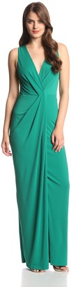 Halston Women's Draped Jersey V-Neck Evening Gown