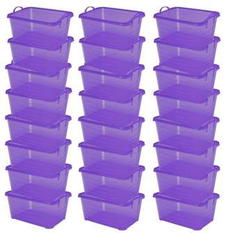 story. Life Purple Stackable Closet Storage Box Container, 55 Quart (24 Pack)