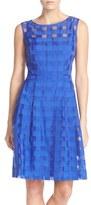 Ellen Tracy Petite Women's Windowpane Check Fit & Flare Dress