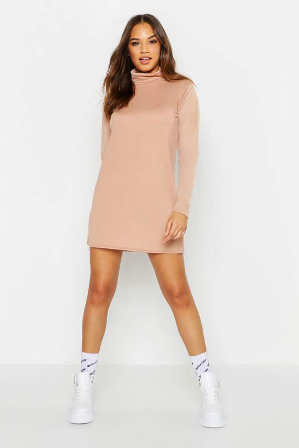 boohoo Roll Neck Long Sleeve Shift Dress