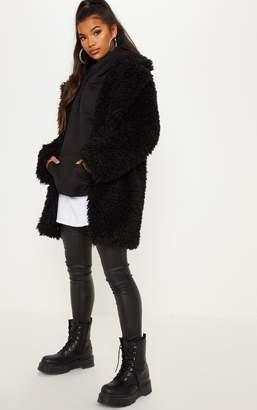 PrettyLittleThing Black Teddy Faux Fur Coat
