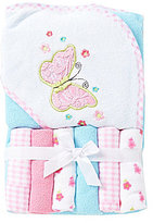 Starting Out Butterfly Hooded Bath Towel & Washcloths Set