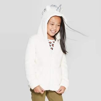 Cat & Jack Girls' Unicorn Sherpa Hoodie - Cat & JackTM Cream