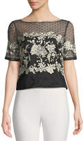 Marchesa Tulle Top w/ Floral Embroidery