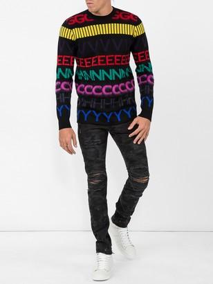 Balmain Black Camo Slim Fit Jeans