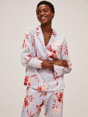 John Lewis & Partners Lexie Floral Satin Pyjama Set, Blue/Multi