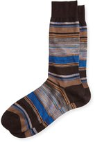 Pantherella Moxon Space-Dye Striped Half-Calf Socks