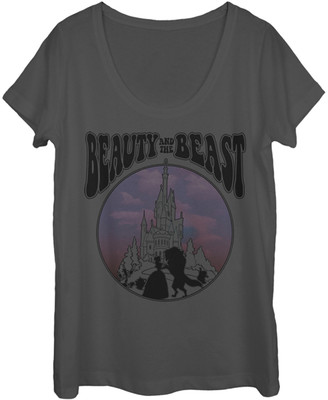 Fifth Sun Women's Tee Shirts CHARCOAL - Charcoal 'Beauty and the Beast' Circle Scoop Neck Tee - Women & Juniors