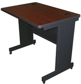 """Priston Mobile Training Table with Modesty Panel Back Symple Stuff Size: 29"""" H x 48"""" L x 30"""" W, Tabletop Finish: Mahogany"""