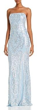 Aqua Strapless Sequin Gown - 100% Exclusive