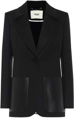 Fendi Leather-trimmed twill blazer