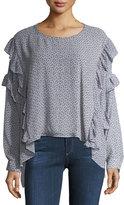 AG Jeans Bijou Long-Sleeve Ruffled Chiffon Blouse