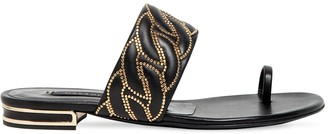 Casadei 10mm Leather Studded Toe-Ring Flats