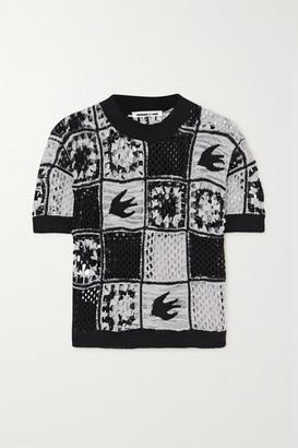 McQ Kaio Patchwork Crocheted Cotton T-shirt - Black