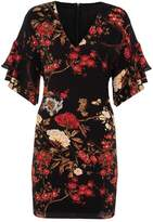 Quiz Black And Red Crepe Print Midi Dress