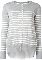 Sacai cupro insert striped cardigan - women - Cotton/Polyester/Cupro - 3
