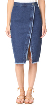 Madewell Denim Overlay Raw Hem Midi Skirt
