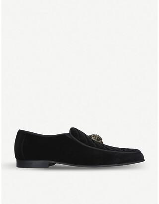 Kurt Geiger Hugh Eagle Head embellished velvet loafers