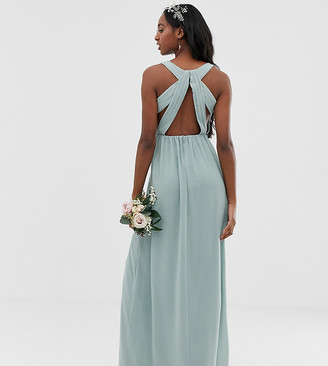 TFNC Tall bridesmaid exclusive pleated maxi dress with back detail in sage