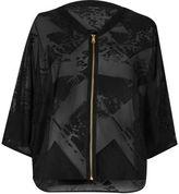 River Island Womens Black satin burnout light bomber jacket