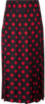 Gucci Pleated Polka-dot Silk-satin Twill Midi Skirt - Black