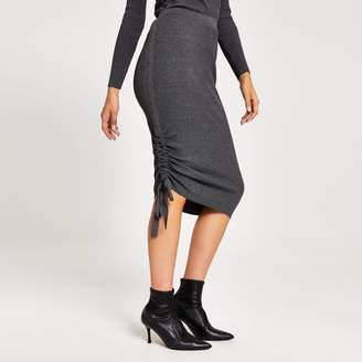 River Island Womens Grey ribbed ruched side midi skirt
