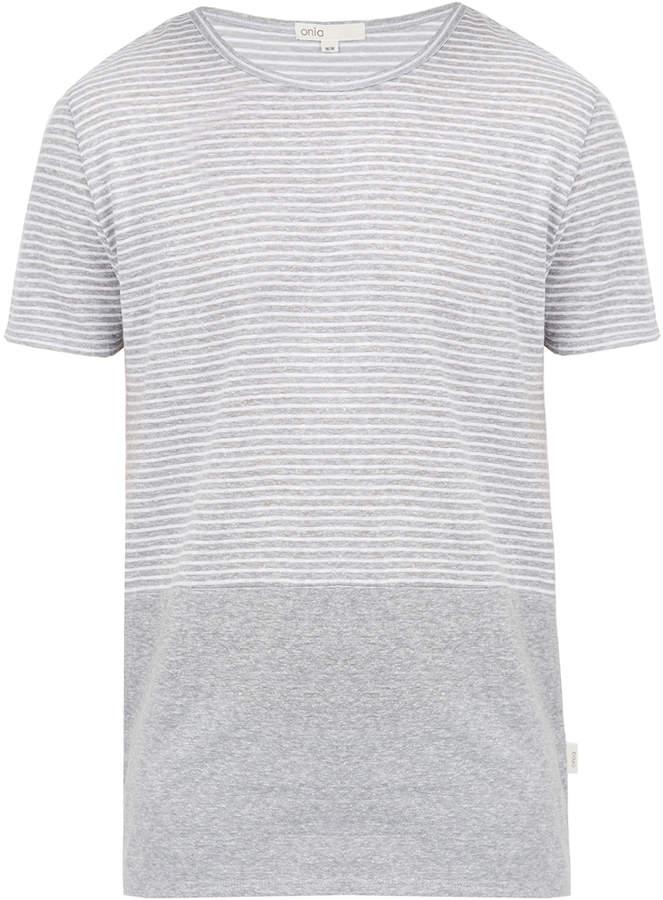 Onia Chad Grey Striped Linen Blend T Shirt